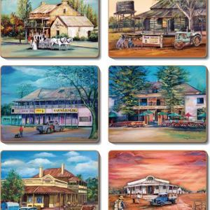 Country Inspired Kitchen OLD HOTELS Cork Backed Placemats or Coasters Set 6 New