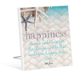 French Country Inspired Island Escape Make Time HAPPINESS Wooden Sign New