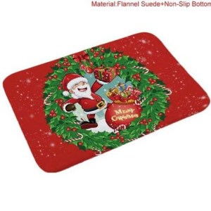 Door or Kitchen Bathroom Christmas Floor Mat Santa Wreath Rect Non Slip Floormat New