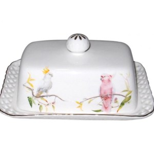 French Country Lovely Butter Dish with Tray AUSTRALIAN COCKATOO with Gift Box New