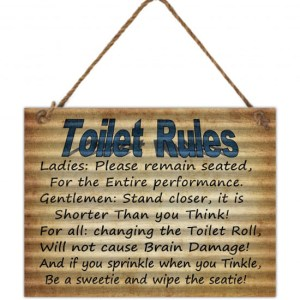 Country Tin Sign Vintage Inspired Wall Art TOILET RULES Corrugated Retro Plaque New