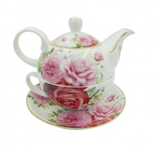 French Country Lovely Teapot PINK ROSE TEA FOR ONE with Gift box New