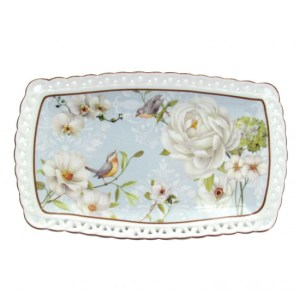 French Country Chic Kitchen Elegant Plate WHITE ROSE Serving Tray New