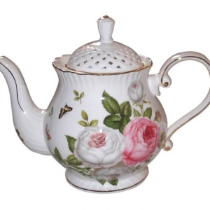 French Country Lovely Teapot BUTTERFLY ROSE China Tea Pot with Giftbox New