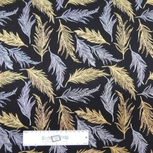 Patchwork Quilting Sewing Fabric BLACK WITH METALLIC FEATHERS 50x55cm FQ New