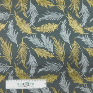 Patchwork Quilting Sewing Fabric GREY WITH METALLIC FEATHERS 50x55cm FQ New