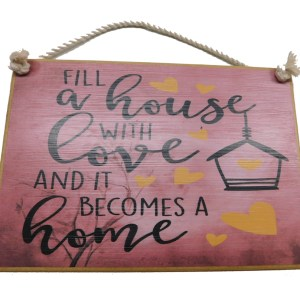 Country Printed Quality Wooden Sign A HOUSE WITH LOVE HOME Plaque New
