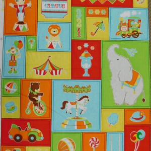 Patchwork Quilting Sewing Fabric KIDS CIRCUS Panel 60x55cm New Material