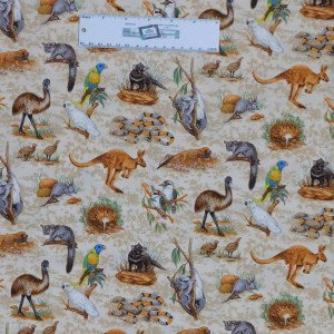 Patchwork Quilting Sewing Fabric ASSORT AUSSIE ANIMALS 50x55cm FQ New Material