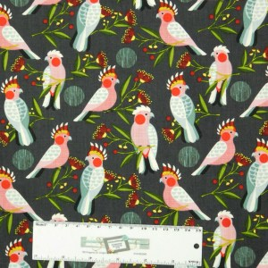 Patchwork Quilting Sewing Fabric AUSSIE GALAH BIRDS 50x55cm FQ New Material