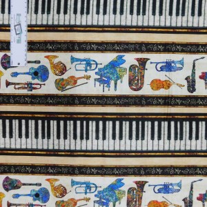 Patchwork Quilting Sewing Fabric MUSICAL INSTRUMENTS BORDER 50x55cm FQ New