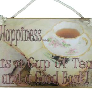 Country Printed Quality Wooden Sign HAPPINESS IS A CUP OF TEA Plaque New