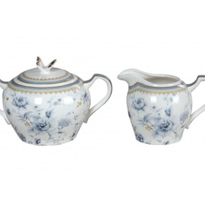 French Country Chic China Kitchen BLUE MEADOWS Sugar and Creamer Set New