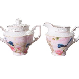 French Country Chic China Kitchen PINK BLUE WREN Sugar and Creamer Set New