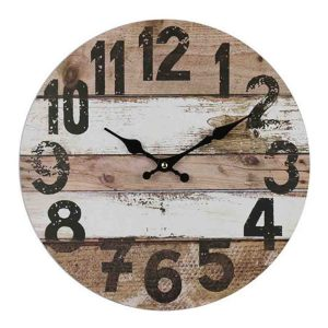 Clocks Country Vintage Inspired Wall NATURAL and WHITE BOARDS Clock 34cm New