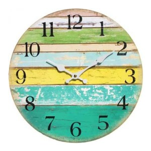 Clocks Country Vintage Inspired Wall CITRUS COLOURED BOARDS Clock 34cm New