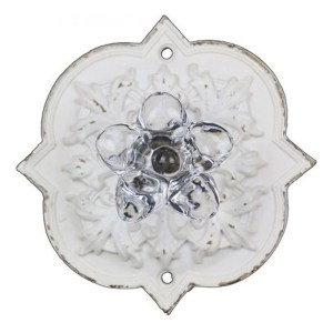 French Country Vintage Inspired WHITE Ornate Back with Crystal Knob x 2 New