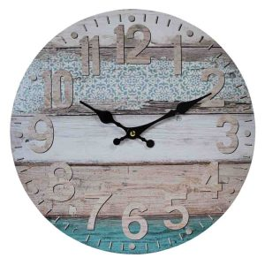 Clocks Country Vintage Inspired Wall AQUA FLORAL FLOOR BOARDS Clock 34cm New