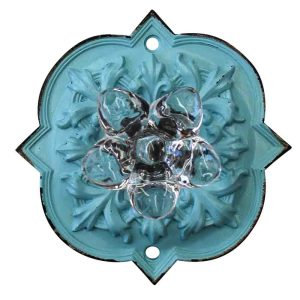 French Country Vintage Inspired LIGHT BLUE Ornate Back with Crystal Knob x 2 New