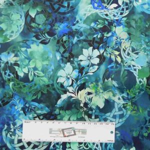 Patchwork Quilting Sewing Fabric DIAPHANOUS TURQUOISE WREATH 50x55cm FQ New