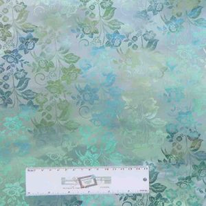 Patchwork Quilting Sewing Fabric DIAPHANOUS BLUE GREEN FLORAL 50x55cm FQ New