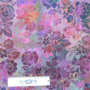Patchwork Quilting Sewing Fabric DIAPHANOUS PINK PURPLE ROSES 50x55cm FQ New