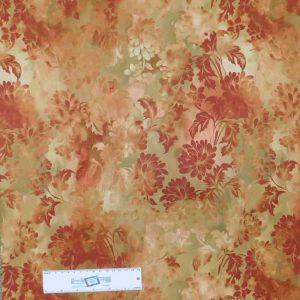 Patchwork Quilting Sewing Fabric DIAPHANOUS RUST FLORAL 50x55cm FQ New