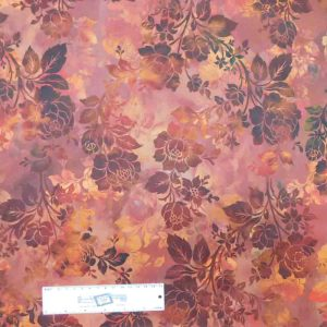 Patchwork Quilting Sewing Fabric DIAPHANOUS BROWN RUST ROSES 50x55cm FQ New