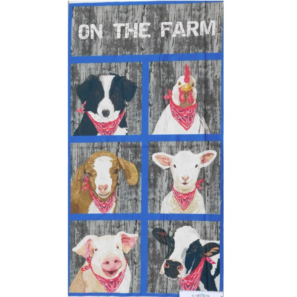 Patchwork Quilting Sewing Fabric ON THE FARM Panel 58x110cm New