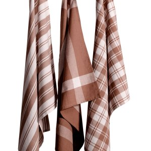 Country Vintage Modern look Tea Towels Cotton Dish Cloths Set 3 BROWN New