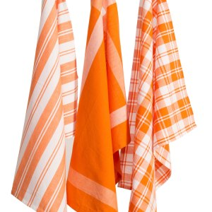 Country Vintage Modern look Tea Towels Cotton Dish Cloths Set 3 ORANGE New