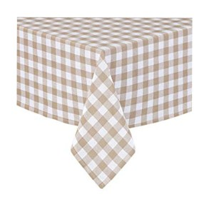 Country Style New Table Cloth TAUPE GINGHAM Tablecloth 130x180cm New