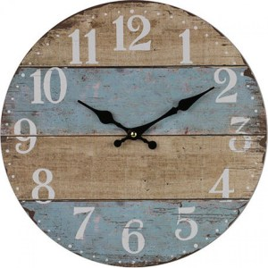 Clocks Country Vintage Inspired Wall FRENCH BLUE NATURAL BOARDS Clock 34cm New