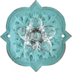 French Country Vintage Inspired AQUA Ornate Back with Crystal Knob x 2 New