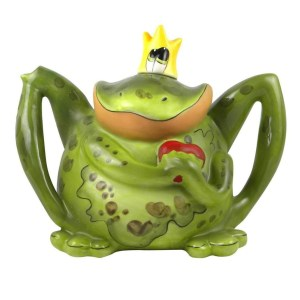 Collectable Novelty Kitchen Teapot FROG PRINCE Blue Sky China Tea Pot New