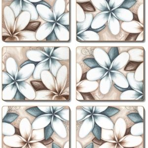 Country Inspired Kitchen OCEAN FRANGIPANI Cinnamon Cork Back Coasters Set 6 New