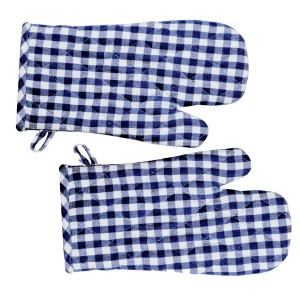 Gingham Check Kitchen Cooking Oven Gloves Set of 2 BLUE Pot Mitts New