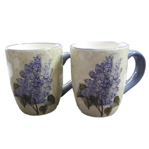 French Country Chic Kitchen Tea Coffee Mugs LAVENDER Set of 2 New