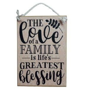 Country Printed Quality Wooden Sign LOVE OF A FAMILY IS A BLESSING Plaque New