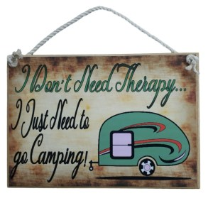 Country Printed Quality Wooden Sign CARAVAN DON'T NEED THERAPY Plaque New