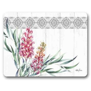 Kitchen Cork Backed Placemats AND Coasters AUSSIE GREVILLEA FLOWERS Set 6 New