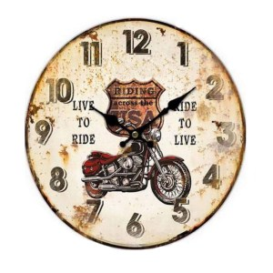 Clocks Country Vintage Inspired Wall LIVE TO RIDE MOTORBIKE Clock 34cm New