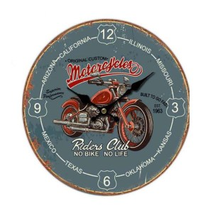 Clocks Country Vintage Inspired Wall MOTORCYCLE RIDERS CLUB Clock 34cm New