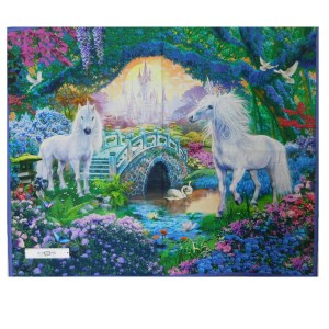 Patchwork Quilting Sewing Fabric MYSTICAL UNICORNS Panel 90X110cm New