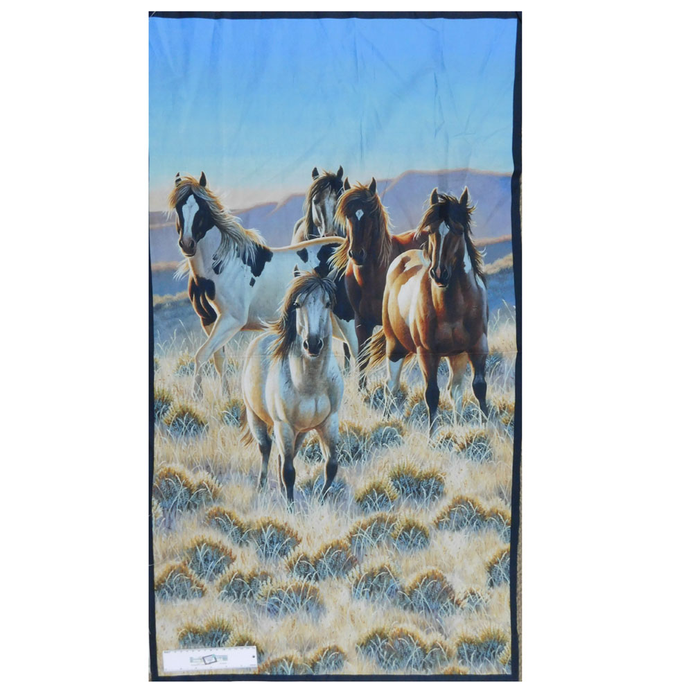 Patchwork Quilting Sewing Fabric SEPIA HORSES Panel 90x110cm New Material