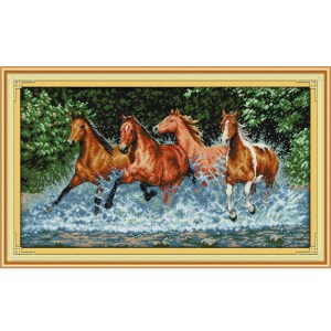 Cross Stitch Kit HORSES X Stitch Joy Sunday Designs Incl Threads 60 x 36cm New