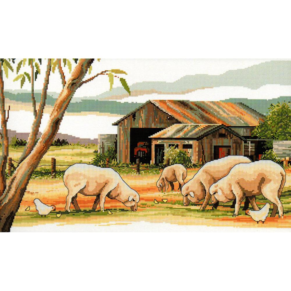 Country Threads Cross Stitch SHEEP SHED Pattern New X Stitch FJP-1083 CT