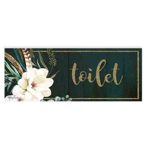 French Country Inspired Wall Art Plaque BOHO LUXE TOILET Wooden Sign New