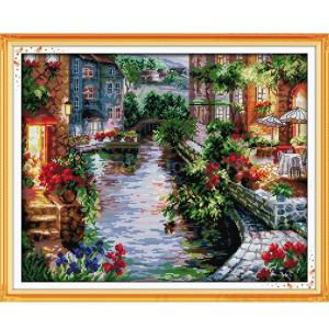 Cross Stitch Kit LAKESIDE HOUSES X Stitch Cloth and Includes Threads New