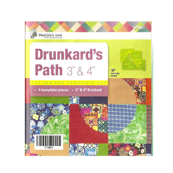 "Quilting Patchwork Sewing Template Drunkard's Path 3"", 4"" New Matilda's Own"